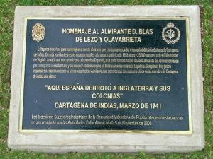 Placa conmemorativa Blas de Lezo 2009