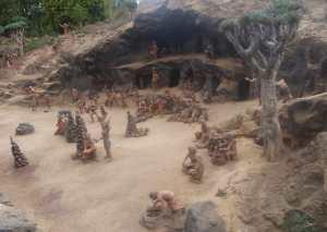 Reconstrucción tipo de un poblado aborigen canario