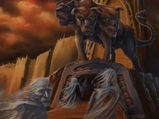 Representación de Cerbero vigilando las puertas del inframundo
