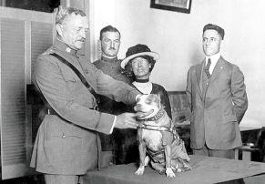 Stubby con J.J. Pershing, comandante en jefe de las tropas estadounidenses en Europa en la primera guerra mundial