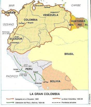 Gran Colombia comparada con la actualidad