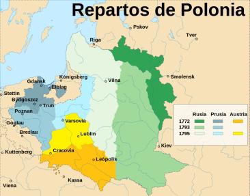 Las tres reparticiones de Polonia-Lituania