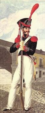 granadero milicia nacional con penacho de plumas