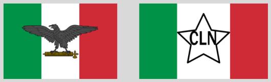 Banderas República Social Italiana y Comité Liberación Nacional