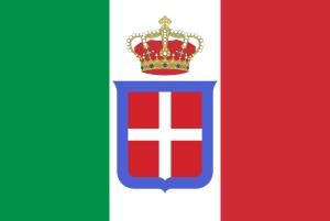 Bandera del reino de Italia con escudo de los Saboya