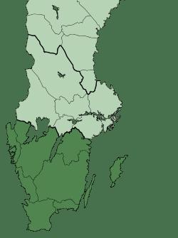 Mapa de Suecia con la zona de origen de los godos