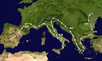 Mapa Europa con viajes de los visigodos a Hispania