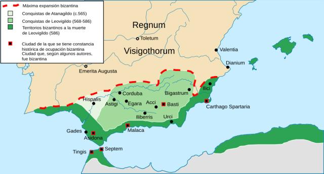 Imagen con la expansión bizantina en España